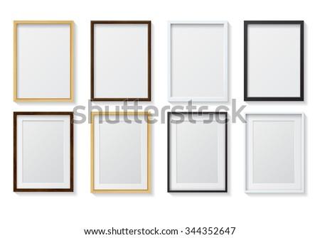 Set Realistic Light Wood Blank Picture Stock Illustration 344352647 ...
