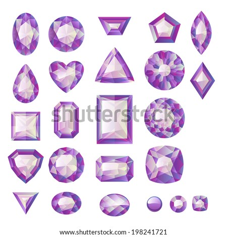 Set of realistic purple jewels. Colorful gemstones. Amethysts isolated on white background. - stock photo
