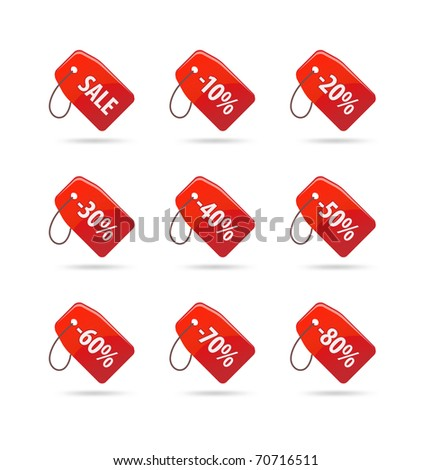 Set of realistic sale tags
