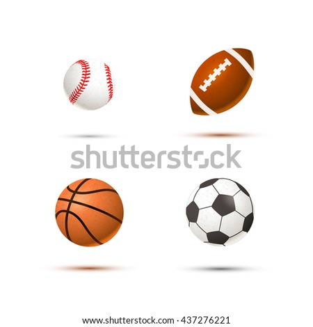 Set of realistic sport balls for soccer, basketball, baseball and rugby, isolated on white
