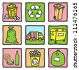 Set of recycling icons - hand drawn illustration - stock photo