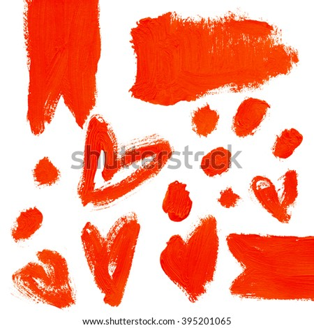 Set of red acrylic abstract hand painted stains and backgrounds.  Isolated on white background.