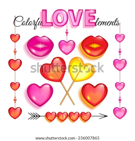 Set of red and pink glass love elements and lollipops isolated on a white background to Valentines day - stock photo