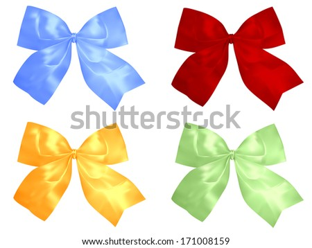 Set of red and silver bows. Illustration. Isolated on white background