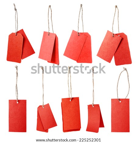 Set of red blank price tag isolated on white background  - stock photo