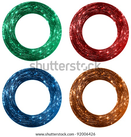 set of red, blue, green and orange sparkling frames with beads, - stock photo