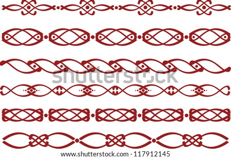Set of red borders with the Slavic ornaments - stock photo