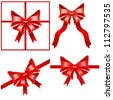 Set of red bows with ribbons on white background. - stock photo