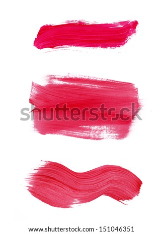set of red brush strokes - stock photo