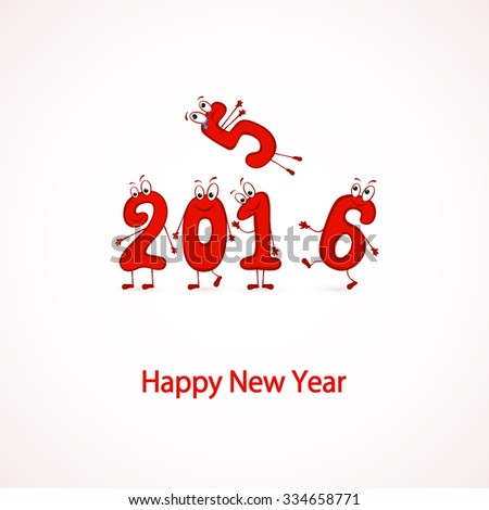 Set of red characters numbers, Happy New Year 2016, illustration. - stock photo