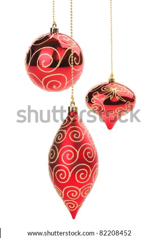 Set of red Christmas balls isolated on white background - stock photo
