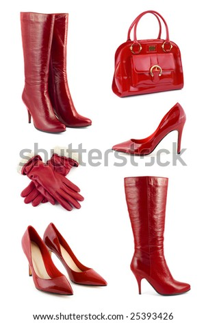 Set of red clothing and accessories isolated on white background - stock photo
