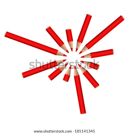 set of red crayons placed in circle on white background (raster version, available as vector too)