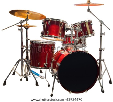 Set of Red drums isolated with clipping path - stock photo