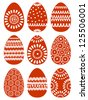 Set of Red Easter Eggs with Patterns on White Background, Raster Version - stock vector