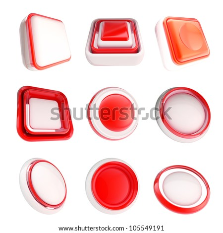 Set of red glossy plastic copyspace template buttons isolated on white
