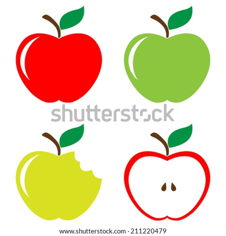 Set of red green half and bitten apples - stock photo