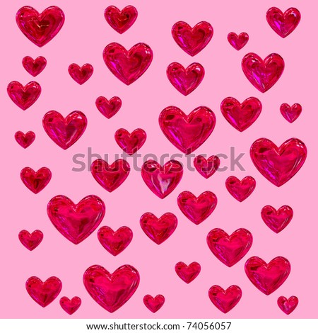 set of red hearts on a pink background as a texture
