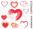 Set of red hearts. Raster version - stock photo