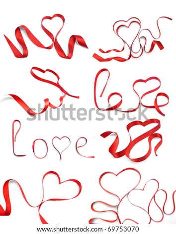 set of red hearts ribbon bow isolated on white background - stock photo