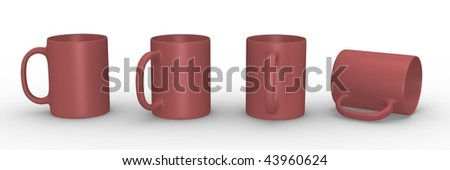 Set of red mugs in various viewing angles. 3D rendered illustration. - stock photo