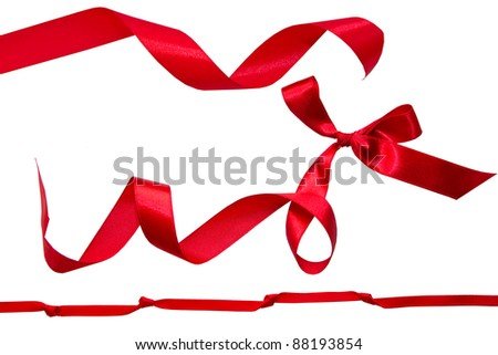Set of red ribbons - stock photo