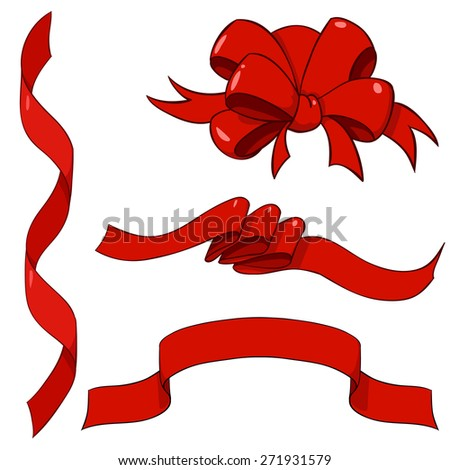 Set of red ribbons and one bow isolated on white - stock photo