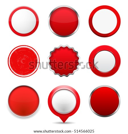 Set of red round buttons on white background