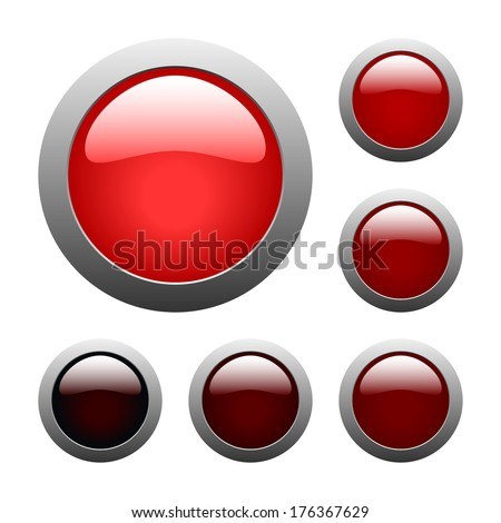 set of red rounded glass buttons (raster version, available as vector too)