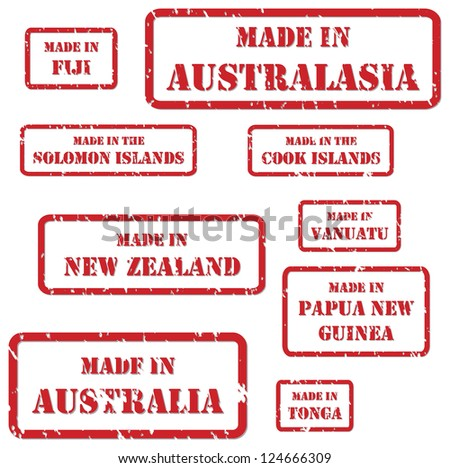 Set of red rubber stamps of Made In symbols for Australasia region