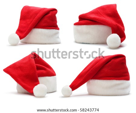 set of red santa claus hat on white background - stock photo