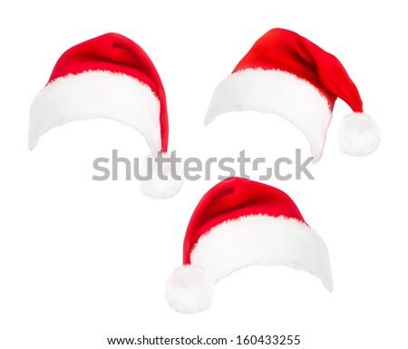 Set of red santa hats.  Raster version of vector.  - stock photo