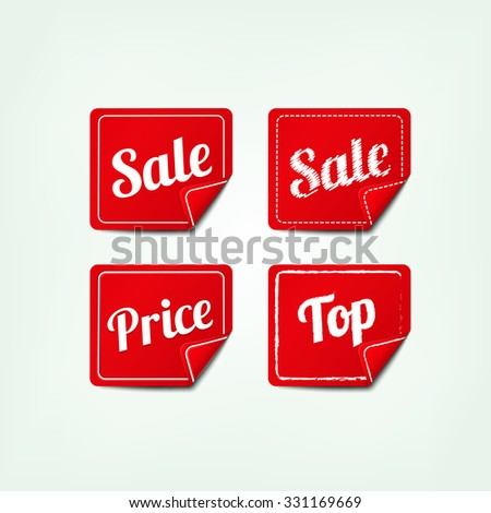 Set Of red square SALE stickers