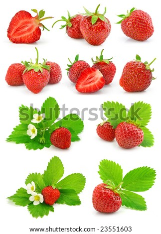 set of red strawberry fruits with green leafs  isolated on white background - stock photo