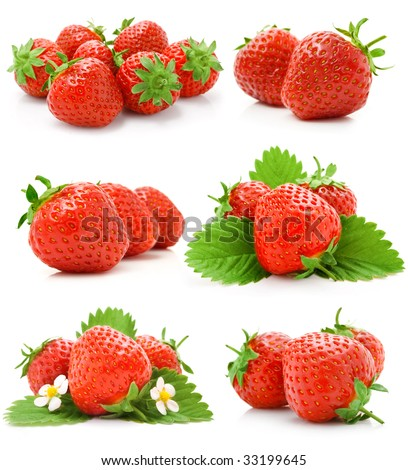 set of red strawberry fruits with green leaves isolated on white background - stock photo
