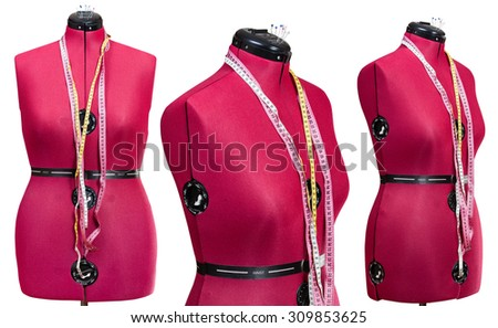 set of red tailor mannequins isolated on white background - stock photo