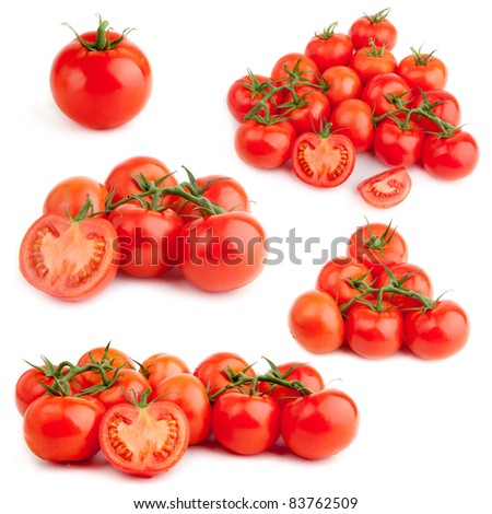 set of red tomato isolated on white background. Fresh tomatoes set. - stock photo