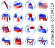 set of red white and blue election icons (jpg) - stock vector
