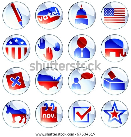 set of red white and blue election icons (jpg) - stock photo