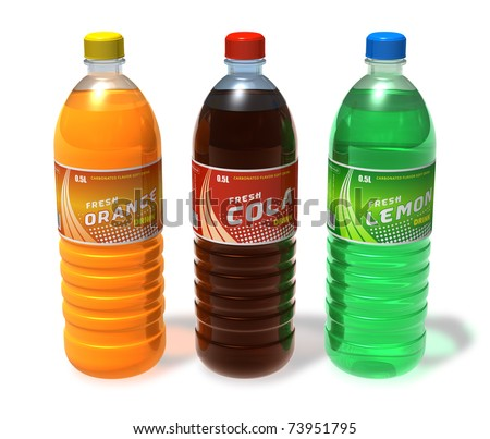 Set of refreshing drinks in plastic bottles - stock photo