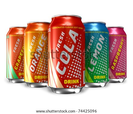 Set of refreshing soda drinks in metal cans - stock photo