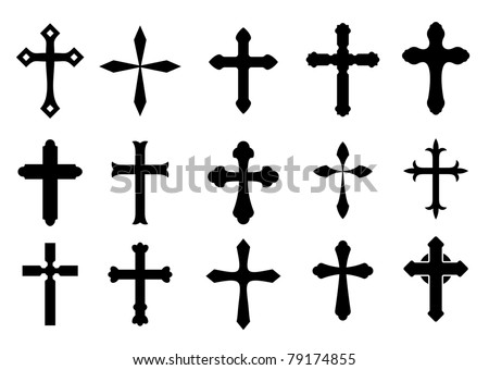 Set of religious cross symbols isolated on white, such a logo. Vector version also available in gallery