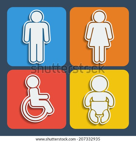 Set of 4 restroom web and mobile icons in flat design. Raster copy. - stock photo