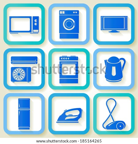 Set of 9 retro icons of domestic electric appliances. Raster version - stock photo