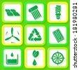 Set of 9 retro icons of renewable energy. Raster version - stock vector