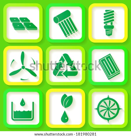 Set of 9 retro icons of renewable energy. Raster version - stock photo