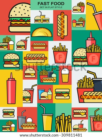 Set of retro icons with fast food burgers. Sandwiches and drinks. Fast food. Objects for design. Background of fast food. Hamburger and cheeseburger. French fries and a hotdog. Drink and fried food - stock photo