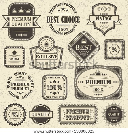 set of retro labels and icons - stock photo