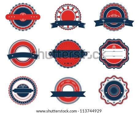 Set of retro labels for sticker, badge or emblem design, such a logo template. Vector version also available in gallery - stock photo