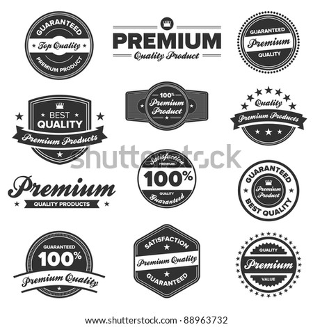Set of 12 retro premium quality badges and labels - stock photo
